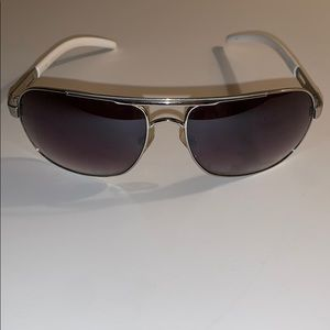 Guess Men's Stainless and White Aviator Sunglasses